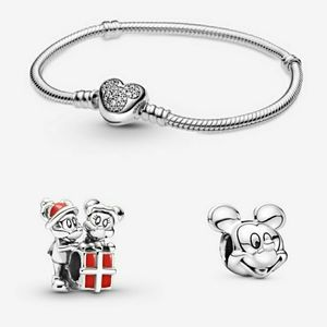 💗Pandora Mickey Mouse Chain Bracelet with 2 Charm
